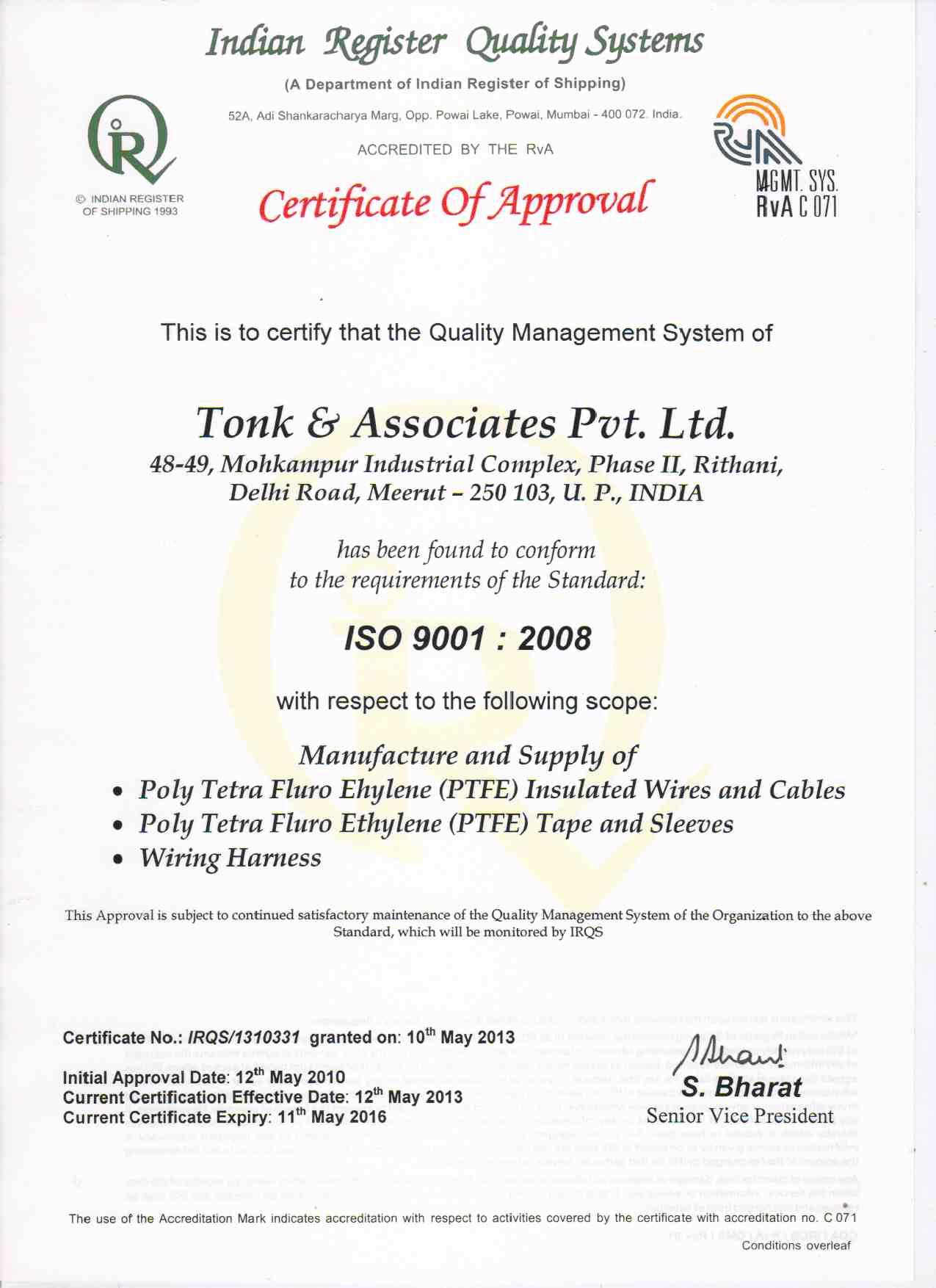Automotive Wiring Harness Electronic Suppliers India Iso Certification
